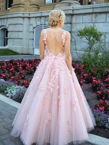 Ball Gown V Neck Open Back Pink Lace Appliques Long Prom Dresses, Princess Dresses