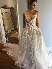Ball Gown V Neck Lace Long Wedding Dresses with Train