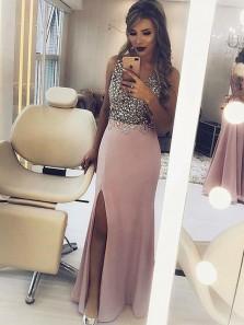 Sheath V Neck Open Back Split Blush Long Prom Dresses with Beading, Chic Evening Dresses