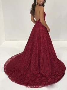 Elegant V Neck Halter Open Back Split Dark Red Lace Long Prom Dresses, Chic Evening Dresses