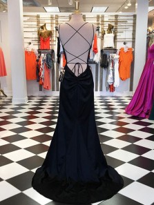 Mermaid Spaghetti Straps Cross Back Black Long Prom Dresses Under 100, Chic Evening Dresses