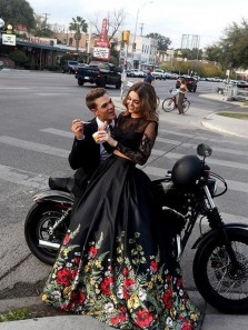 Ball Gown Two Piece Long Sleeves Floral Black Long Prom Dresses, Long Black Evening Dresses