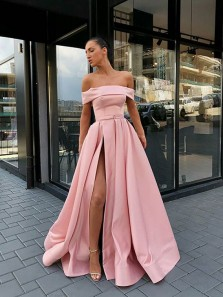 Ball Gown Off the Shoulder Blush Pink Satin Long Prom Dresses with Pockets, Split Long Evening Dresses