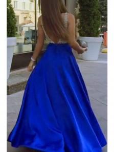A Line V Neck Open Back Royal Blue Beading Long Prom Dresses with Pockets, Elegant Evening Dresses