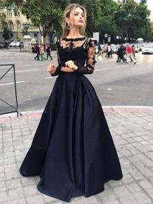 Ball Gown Round Neck Long Sleeves Black Lace Long Prom Dresses, Elegant Evening Dresses