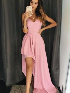 A Line V Neck Open Back High Low Pink Long Prom Dresses, Simple Evening Party Dresses
