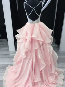 Ball Gown V Neck Spaghetti Straps Pink Long Prom Dresses with Train, Quinceanera Dresses
