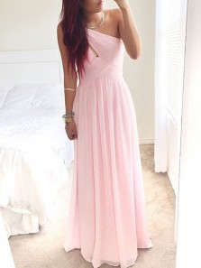 A Line One Shoulder Pink Chiffon Ruffled Long Prom Dresses, Simple Evening Dresses PD0128001