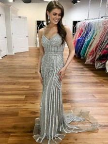 Mermaid V Neck Spaghetti Straps Open Back Grey Sequins Long Prom Dresses with Train, Sparkly Evening Dresses
