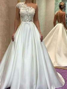 Ball Gown One Shoulder Ivory Satin Lace Long Wedding Dresses