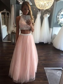 A Line Two Piece Round Neck Pink Long Prom Dresses with Beading, Beautiful Evening Dresses