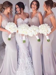 Mermaid Sweetheart Grey Elastic Satin Long Bridesmaid Dresses BD0123001