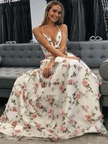 A Line V Neck Spaghetti Straps Flower Lace Long Prom Dresses, Beautiful Graduation Dresses, Formal Party Dresses