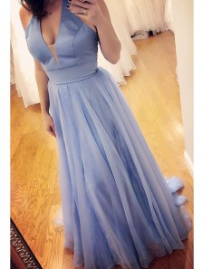 A Line V Neck Halter Blue Chiffon Satin Long Prom Dresses, Simple Formal Dresses