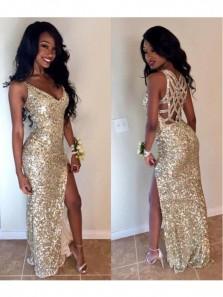 Sheath V Neck Spaghetti Straps Gold Sequins Prom Dresses, Split Evening Party Dresses