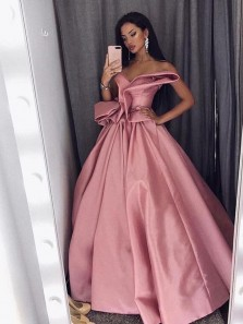 Ball Gown Sweetheart Pleats Ruffled Bow Long Prom Dresses, Unique Quinceanera Dresses
