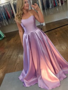 Ball Gown Sweetheart Lilac Satin Long Prom Dresses with Pockets, Elegant Evening Dresses PD0125005