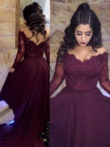 High Low Off the Shoulder Long Sleeves Maroon Prom Dress with Appliques, Elegant Evening Dresses