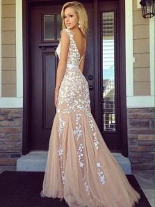 Mermaid Scoop Neck Open Back Peach White Lace Long Prom Dresses, Elegant Evening Dresses PD0128002