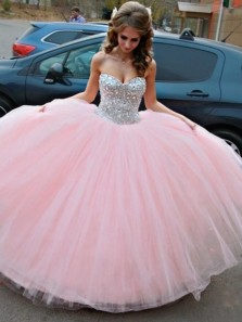 Ball Gown Sweetheart Beaded Pink Prom Dresses, Sparkly Beautiful Princess Dresses