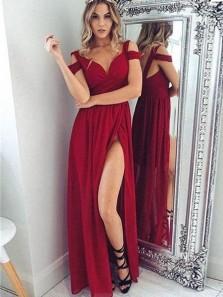 A Line V Neck Open Back Dark Red Chiffon Split Long Prom Dresses, Elegant Evening Party Dresses PD0128004