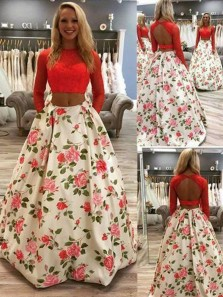 Ball Gown Two Piece Round Neck Long Sleeves Floral Red Lace Long Prom Dresses with Pockets, Elegant Evening Dresses PD0128005
