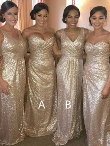 Sheath V Neck Gold Sequins Long Bridesmaid Dresses, Elegant Ruffled Bridesmaid Dresses