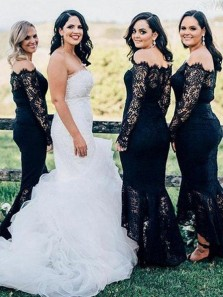 Mermaid Off the Shoulder Long Sleeves Black Lace Bridesmaid Dresses, Elegant Bridesmaid Gowns
