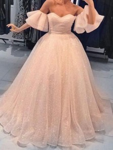 Sparkly Ball Gown Sweetheart Ruffled Sleeves Peach Long Prom Dresses, Unique Evening Dresses