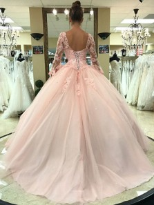 Ball Gown V Neck Open Back Long Sleeves Pink Lace Long Prom Dresses, Elegant Evening Dresses