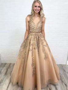 Ball Gown V Neck Open Back Gold Lace Long Prom Dresses with Beading, Gorgeous Evening Dresses PD0128006