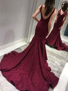 Sparkly Mermaid V Neck Open Back Burgundy Long Prom Dresses with Train, Unique Evening Dresses PD0128007