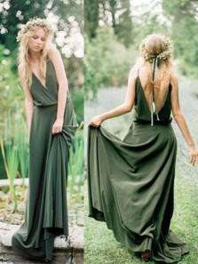 Boho A Line V Neck Open Back Dark Green Long Bridesmaid Dresses