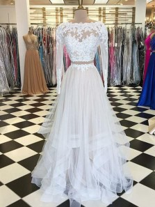 Irregular A Line Scoop Two Piece White Lace Long Sleeves Long Prom Dresses, Elegant Evening Dresses