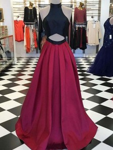 Halter Hollow Open Back Long Prom Dresses with Pockets, Burgundy Long Evening Dresses