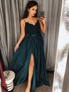 V Neck Lace Spaghetti Straps Dark Green Split Long Prom Dresses, Long Evening Dresses PD0202005