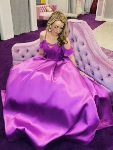 Gorgeous Ball Gown Spaghetti Straps Purple Satin Long Prom Dresses, Quinceanera Dresses