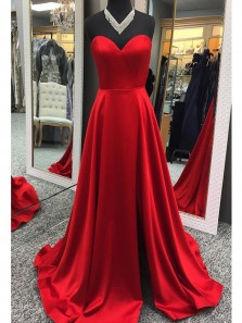 Elegant Ball Gown Sweetheart Red Split Long Prom Dresses with Necklace, Formal Evening Dresses