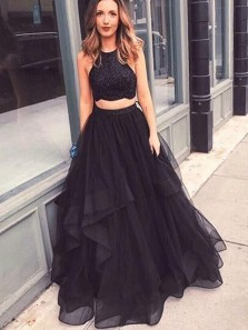 Charming Halter Two Piece Black Long Prom Dresses with Beading, Sparkly Formal Prom Dresses PD0209009