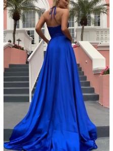 Simple A Line V Neck Spaghetti Straps Royal Blue Long Prom Dresses, Split Evening Dresses Under 100 PD0214002