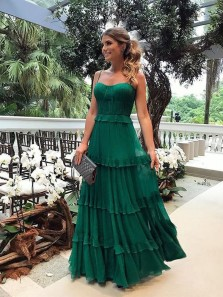 Unique A Line Sweetheart Spaghetti Straps Green Ruffled Chiffon Long Prom Dresses, Elegant Evening Dresses
