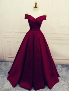 Elegant Ball Gown Off the Shoulder Burgundy Satin Long Prom Dresses with Pockets, Formal Evening Dresses PD0214007