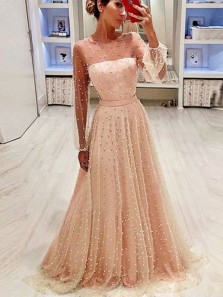 A Line Round Neck Long Sleeves Champagne & Peach Pearls Long Prom Dresses, Princess Prom Dresses