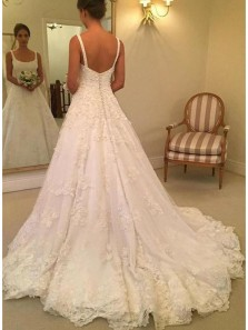 Elegant Ball Gown Open Back Ivory Lace Long Wedding Dresses