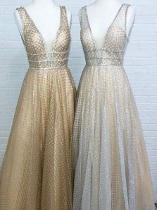 A Line V Neck Sequins Lace Open Back Long Prom Dresses with Beading, Unique Gold & Silver Prom Dresses