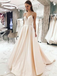 Elegant Ball Gown V Neck Spaghetti Straps Peach Satin Long Prom Dresses with Pockets, Princess Dresses