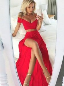Sweet Off the Shoulder Spaghetti Straps Two Piece Red Chiffon Long Prom Dresses, Split Sexy Evening Party Dresses PD0218008