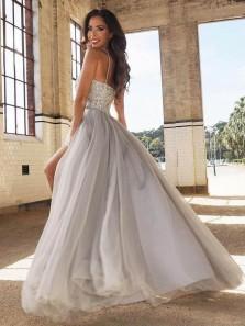 Cute Grey Sweetheart Spaghetti Straps Grey Split Long Prom Dresses with Beading, Beautiful Graduation Dresses PD0221001