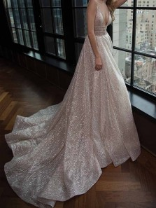 Sparkly Ball Gown V Neck Satin Champagne Sequins Long Prom Dresses, Princess Dresses