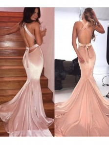 Gorgeous Mermaid V Neck Open Back Straps Blush Pink Velvet Long Prom Dresses, Elegant Evening Dresses